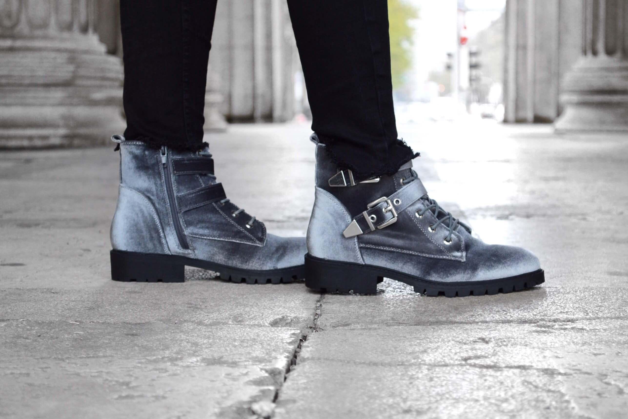 Boots Stiefel Stiefeletten Winter Herbst Samt Schuhe Katefully Fashion Mode Blog München Pullover