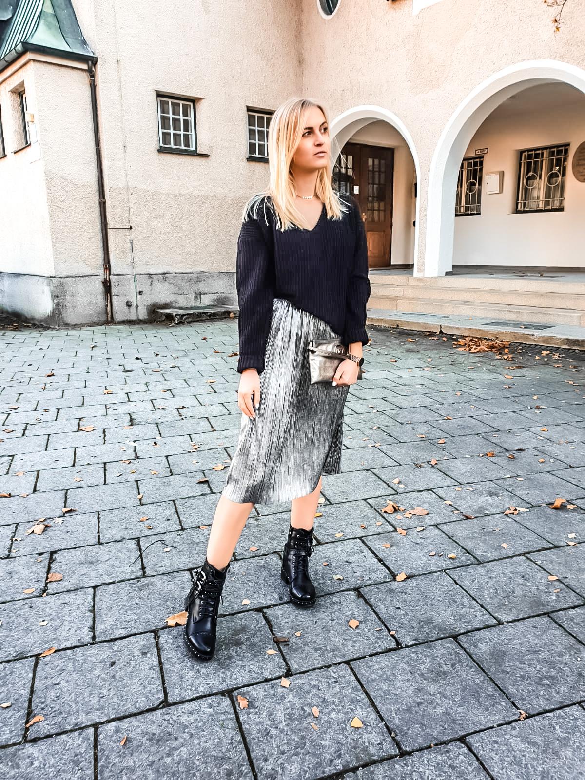 Metallic, Outfit, Katefully, München, Rock silber, Fashionblog, Modeblog, Munich, ootd, Metallic Look, silber gold bronze, Wintermode, Herbst, Christmas, Weihnachten