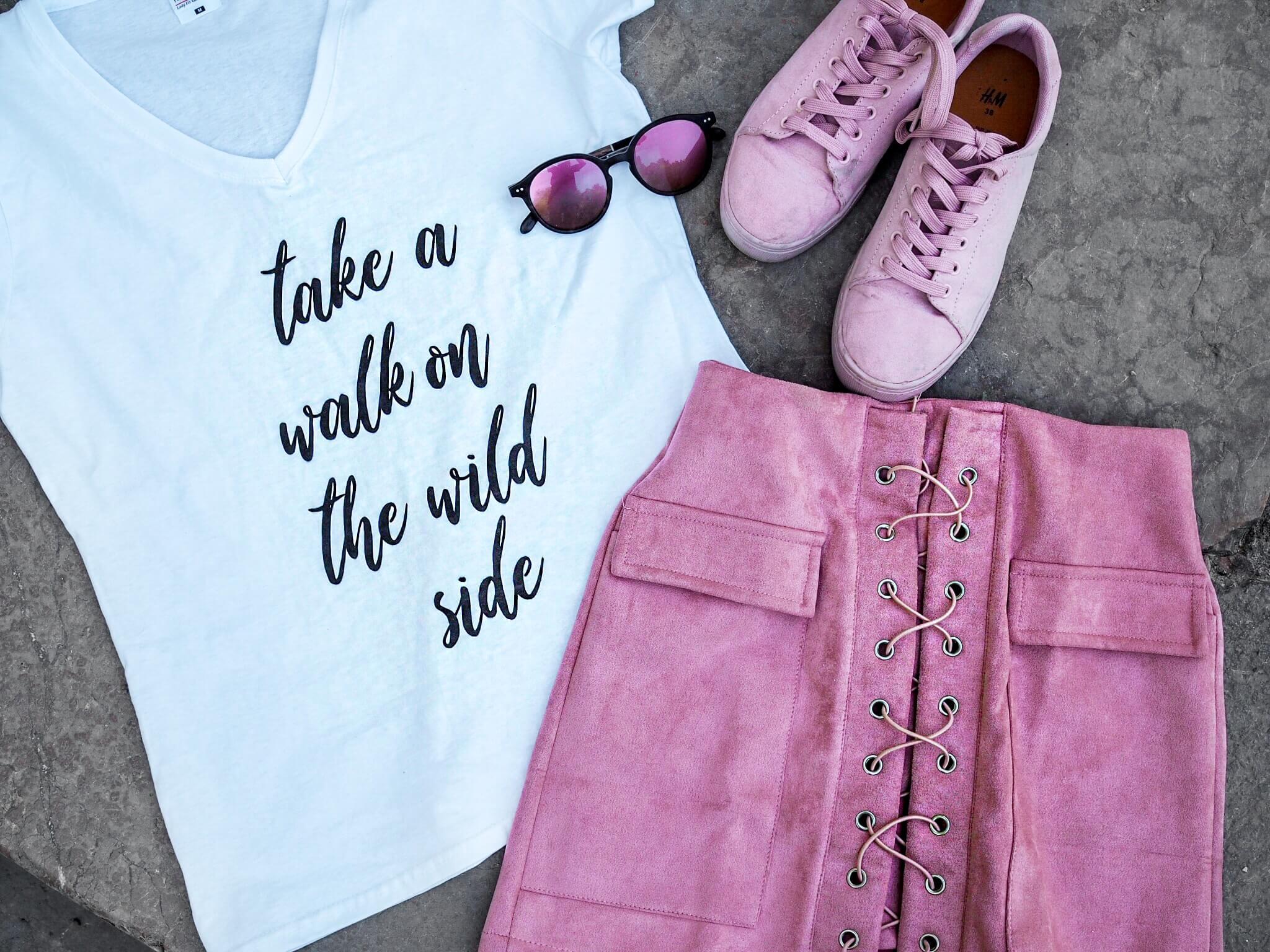 Modeblog Fashionblog Katefully München Shirt selber bedrucken gestalten DIY ootd Modeoutfit Rock Top rosa Streetstyle Fashiontipps Designerin
