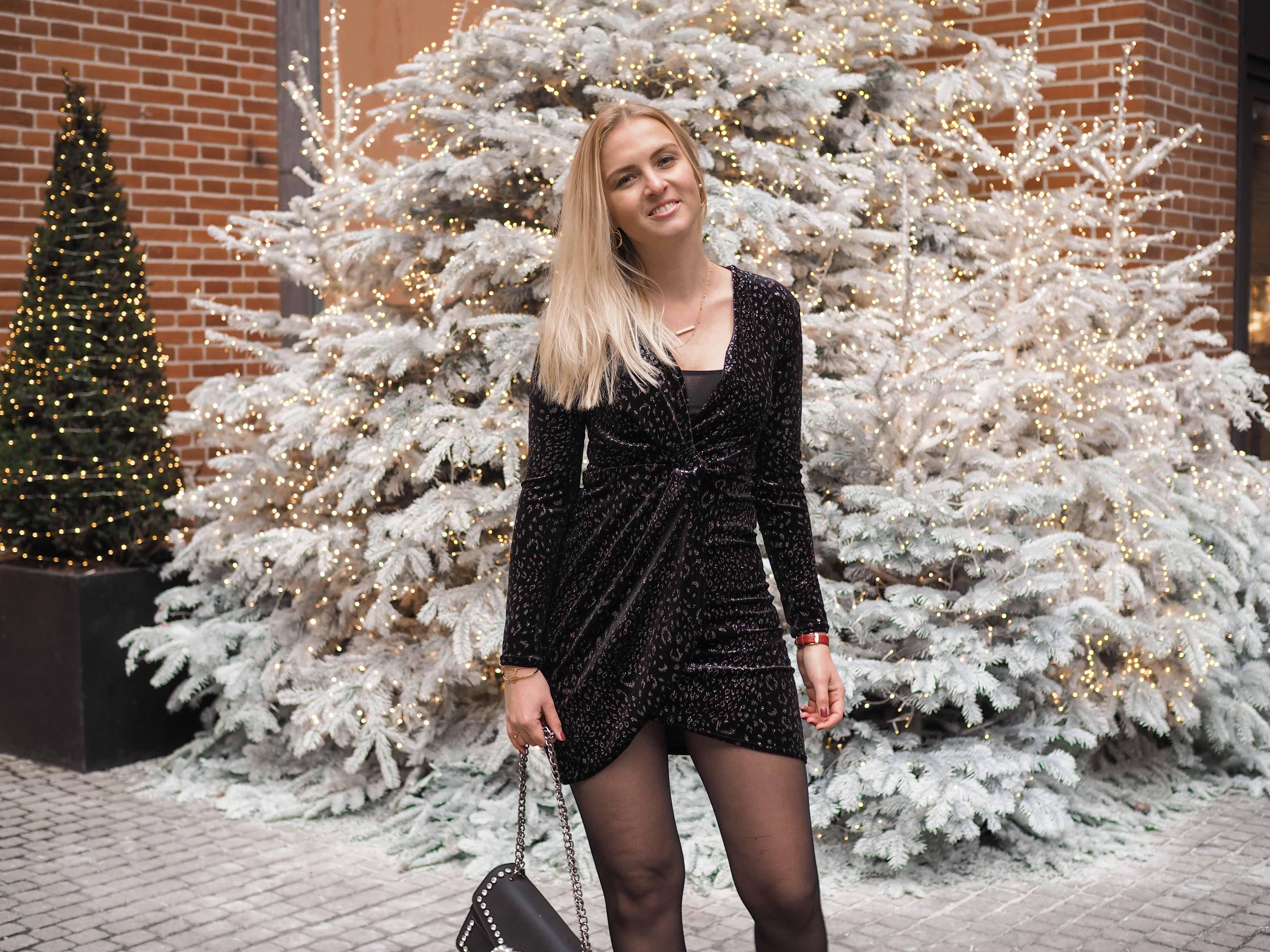 Samt Outfit, Weihnachten, Silvester, Kleid, Christmas Outfit, Fashionblog, Modeblog, Katefully, München, Handtasche, ootd, ootn, Weihnachtsbaum, Samtkleid, Selbstliebe, Liebe