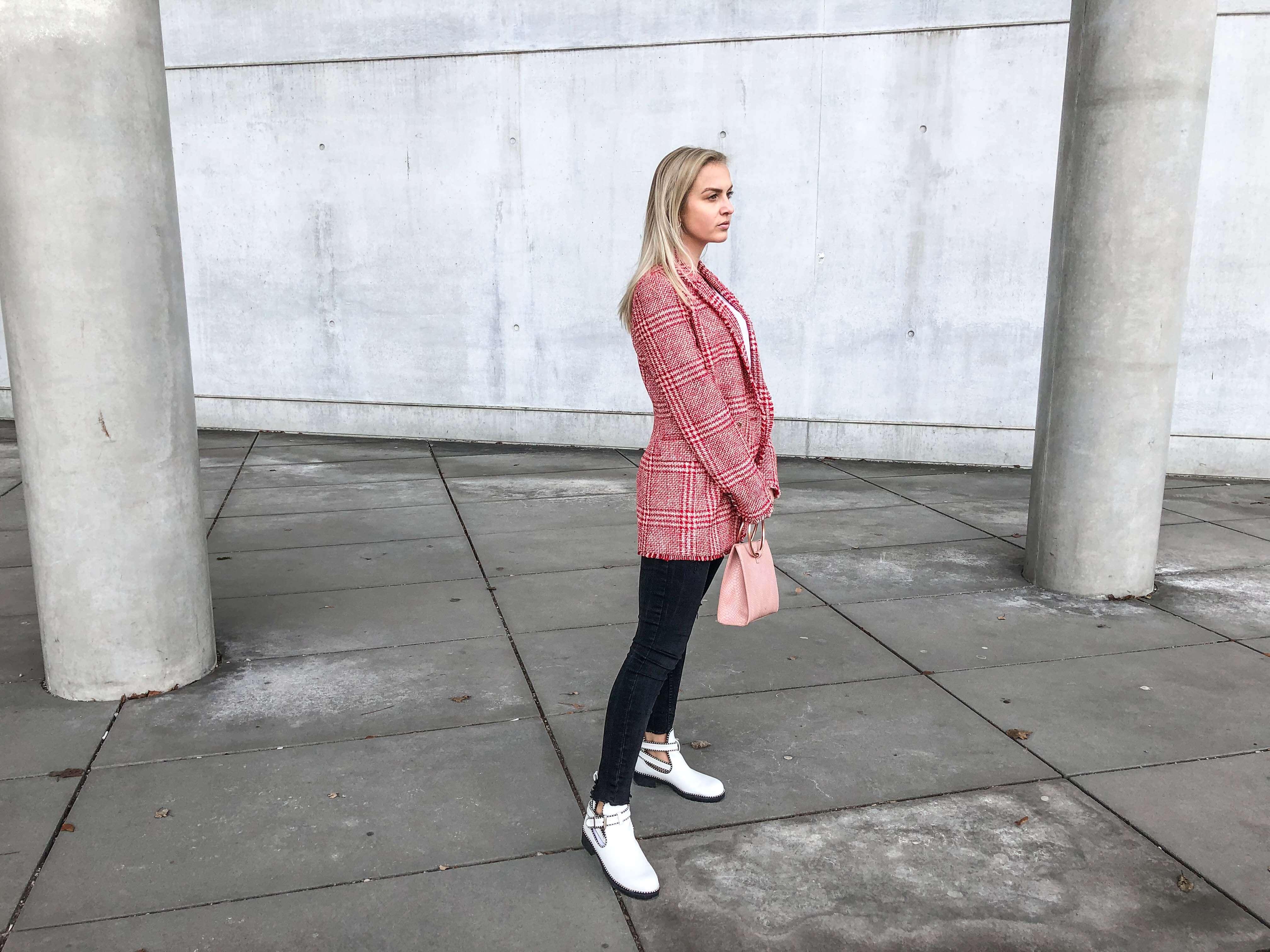Statement Blazer, Übergangsjacke, Jacke, Glencheck, Katefully, Fashionblog, Modeblog, München, rosa Handtasche, destroyed Jeans