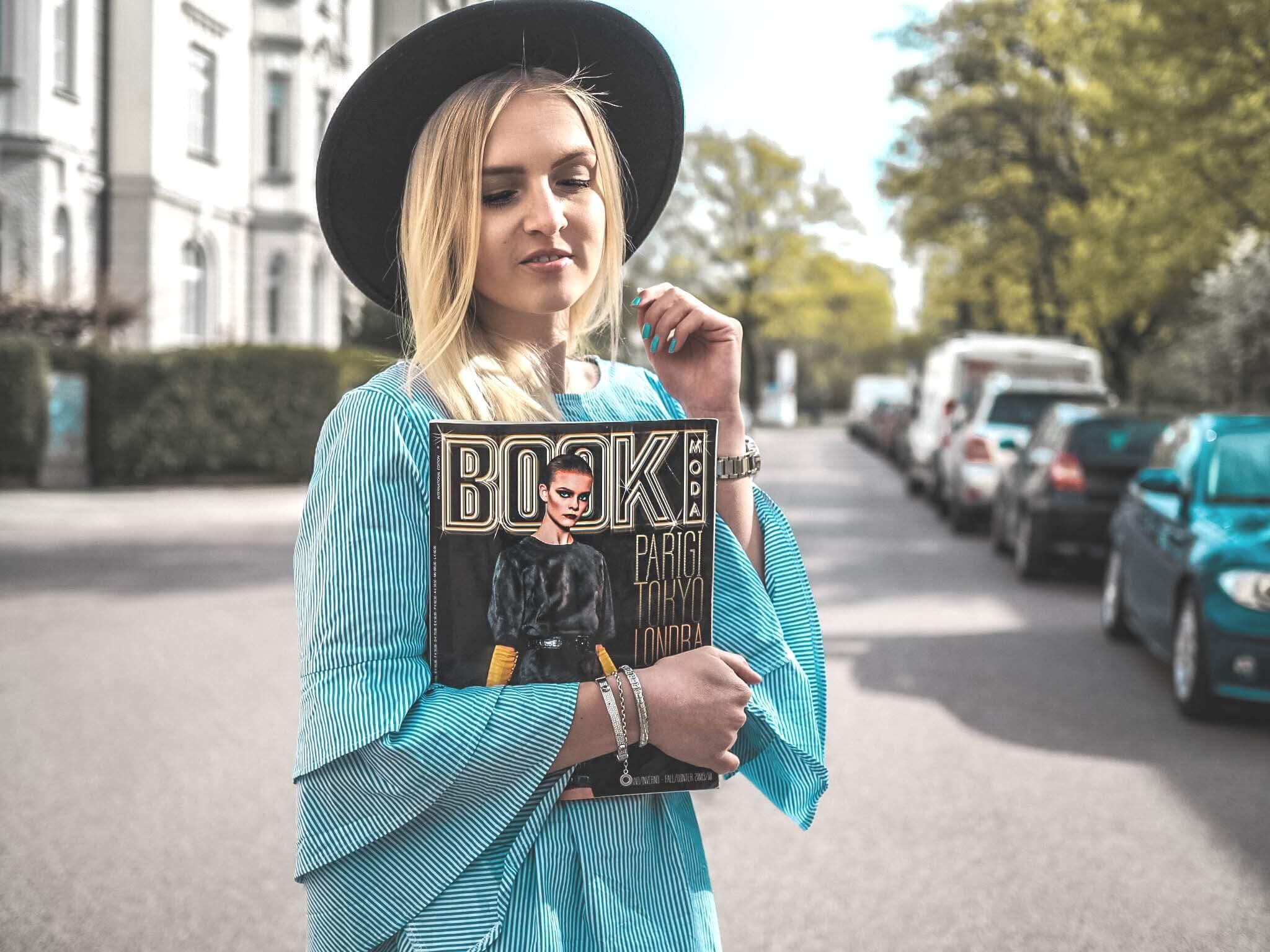 Streifen Frühling Sommer Outfit Fashionblog Modeblog München Kleid Streifenkleid Urlaub Hut Slipper Fashion Katefully Bloggerin Trend 2018 ootd Inspiration Modebuch