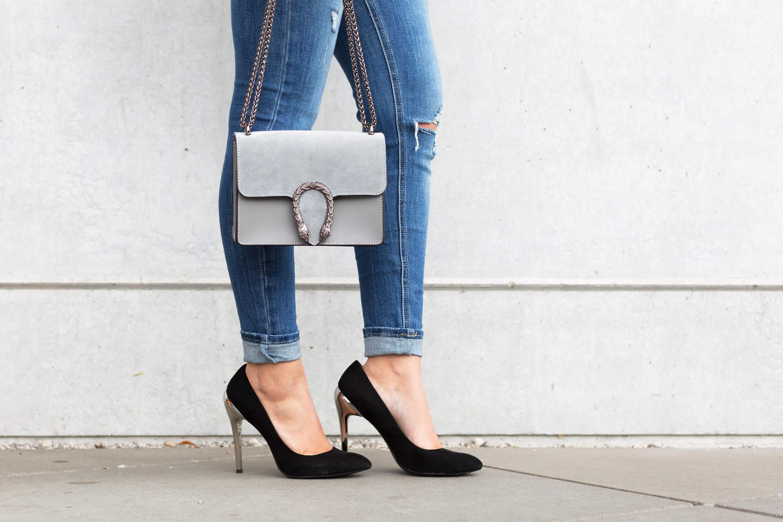 Volant Look richtig kombinieren Fashion Blog Katefully Tasche und Schuhe